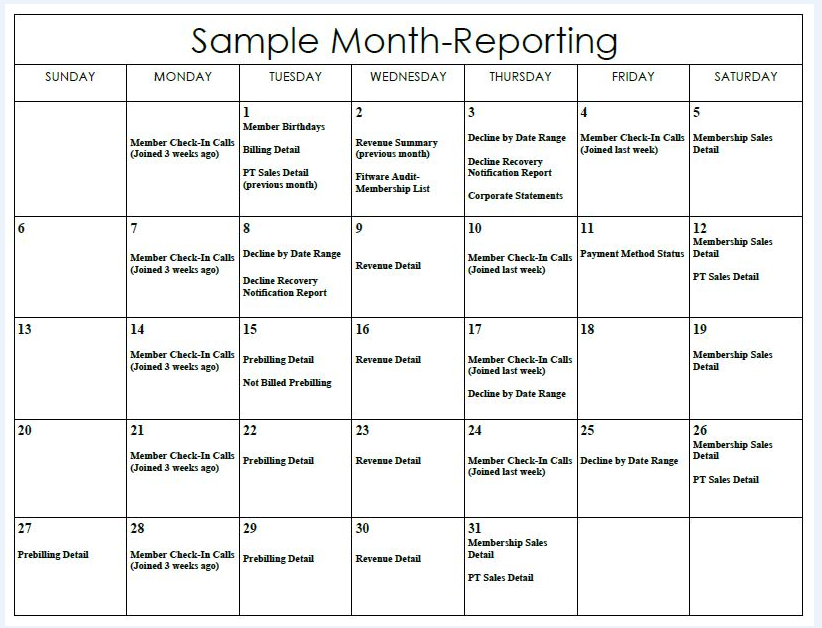 Sample Calendar | Sample Month Reporting Calendar Fitware